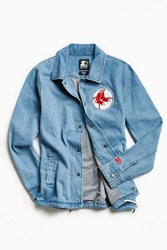 Starter X Uo Mlb Boston Denim Coach Jacket Indigo