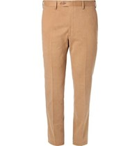 Brioni Slim Fit Brushed Cotton Twill Trousers Camel