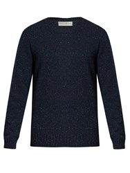 Gieves And Hawkes Crew Neck Donegal Wool Blend Sweater Navy