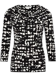 Austin Reed Square Print Cowl Neck Top Black