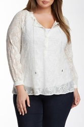 Democracy Embroidered Peasant Blouse Plus Size White