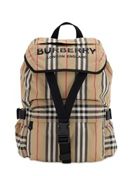 Burberry Small Wilfin Check Nylon Backpack Archive Beige