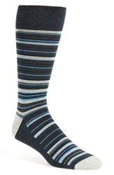 Nordstrom Men's Men's Shop 'Cushion Foot' Stripe Socks Navy Heather