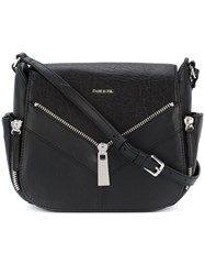 Diesel Zip Applique Satchel Women Calf Leather One Size Black