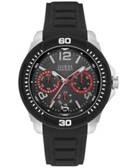 Guess Men's Black Silicone Strap Watch 46Mm U0967g1