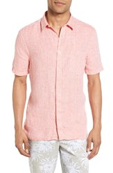 French Connection Men's Linen Chambray Shirt Peach Echo