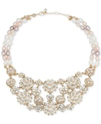 Carolee Gold Tone Crystal And Pink Imitation Pearl Flower Statement Necklace 16 2 Extender Lt Pink
