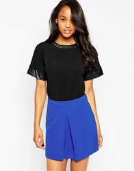 Ax Paris Top With Pu Trim Black