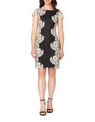 Tahari By Arthur S. Levine Petite Floral Lace Dress Black Sand