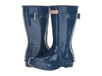 Hunter Original Short Gloss Dark Earth Blue Women's Rain Boots