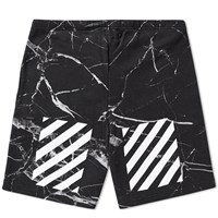Off White Marble Fleece Short Black