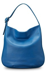 Shinola Birdy Grained Leather Hobo Bag Blue Bluestone