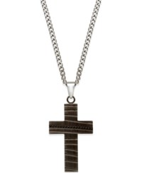 Proposition Love Men's Cubic Zirconia Accent Cross Pendant Necklace In Black Ion Plated Stainless Steel