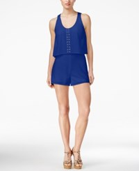 Guess Gweneth Embellished Popover Romper High Def Blue