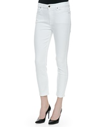 Jen7 High Rise Cropped Skinny Jeans White