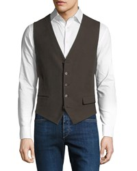 Stefano Ricci Waxed Cotton Gilet Vest With Leather Details Brown