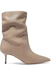 Aquazzura Very Boogie 60 Leather Ankle Boots Light Gray