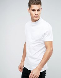 Asos Relaxed Skater T Shirt With High Neck White