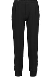 Splendid Montecito Faux Leather Trimmed Terry Tapered Pants Gray