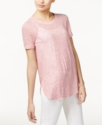 Max Mara Weekend Visby Linen Sheer T Shirt Red White