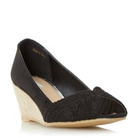 Linea Currio Peep Toe Espadrille Wedge Shoes Black