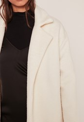 Missguided Textured Faux Wool Tailored Coat White Ivory