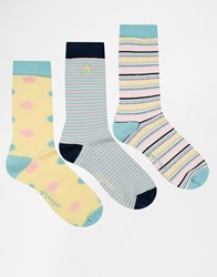Penguin 3 Pack Ladies Socks In Pastel Stripe Multi