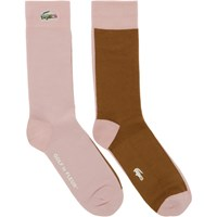 Lacoste Pink And Brown Golf Le Fleur Edition Colorblocked Socks