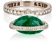 Munnu Women's Emerald Drop Accented Band Colorless