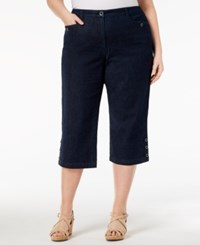 Karen Scott Plus Size Denim Capri Pants Dark Denim