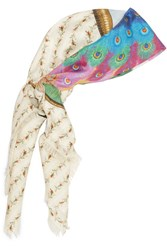 Gucci Loved Peacock Printed Silk Scarf Ivory