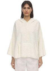 Agnona Hooded Cashmere And Cotton Sweater Off White