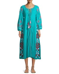 Raj Kilim Embroidered Button Front Dress Turquoise