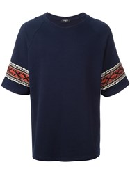 Ports 1961 Ethnic Embroidered Detail T Shirt Blue