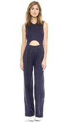 Shades Of Grey By Micah Cohen Muscle Sleeve Wide Leg Jumpsuit Navy