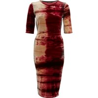 River Island Womens Red Tie Dye Velvet Half Sleeve Column Dress