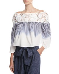Milly Lilly Ombre Striped Off The Shoulder Crop Top Navy