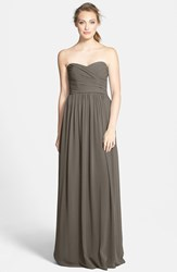 Women's Monique Lhuillier Bridesmaids Strapless Ruched Chiffon Sweetheart Gown Charcoal