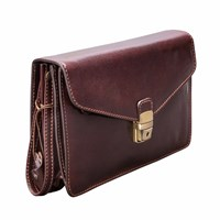 Maxwell Scott Bags The Santino Mens Leather Clutch Bag With Wrist Strap Chocolate Brown