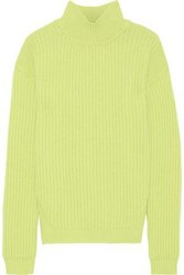 Rick Owens Woman Ribbed Wool Turtleneck Sweater Lime Green