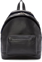Balmain Black Leather And Velvet Backpack