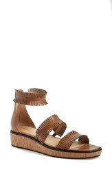 Women's Bettye Muller 'Marque' Fringe Sandal Tan Leather