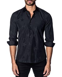 Jared Lang Modern Fit Stars Long Sleeve Shirt Black Stars