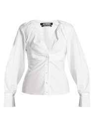Jacquemus Ruched Neck Oxford Cotton Shirt White