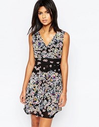 Yumi Wrap Front Dress In Tropical Floral Border Print Black
