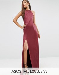 Asos Tall Red Carpet Satin Maxi Halter Dress Red