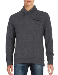 Black Brown Shawl Collar Sweater Ash Heather