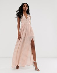 Rare London Maxi Dress With Cup Detail And Scalloped Back In Taupe Pink