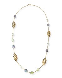 Alexis Bittar Peacock Pearly Station Necklace 42 Gold