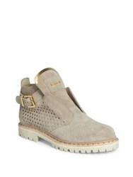 Balmain Perforated Suede Boots Beige Nude